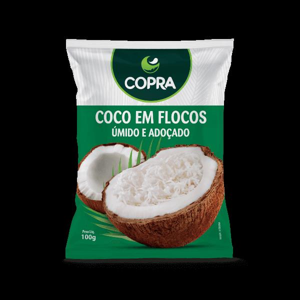 Coco Ralado em Flocos Úmido e Adoçado